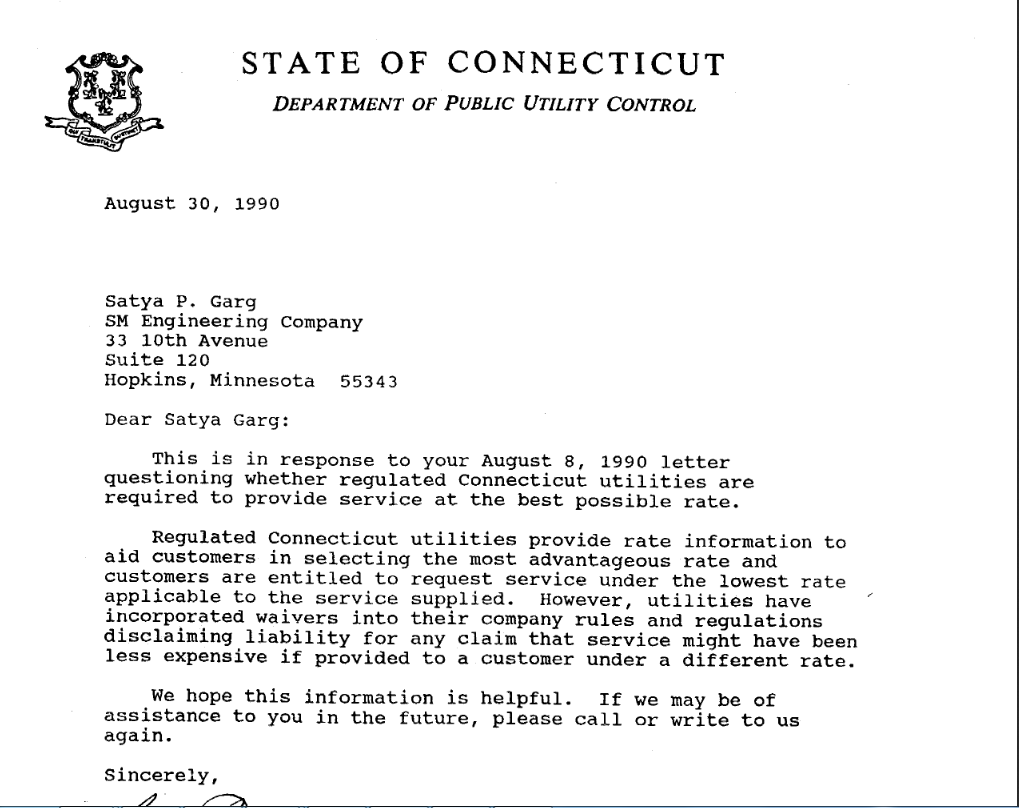 Letter from State of Connecticut